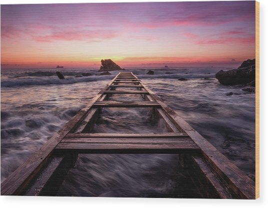 Sunset Shining Over A Wooden Pier In Livorno, Tuscany Wood Print