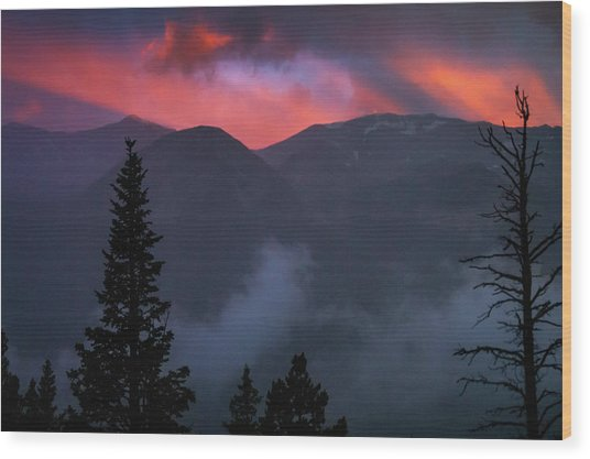 Sunset Storms Over The Rockies Wood Print