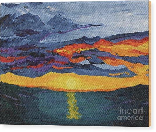 Sunset Streak Wood Print