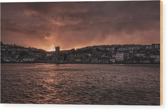 Sunset Harbour Wood Print