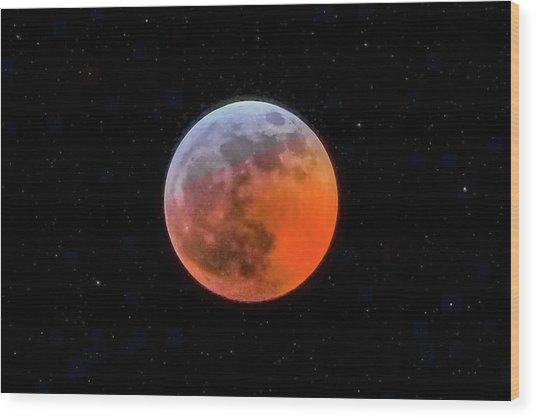 Super Blood Moon Eclipse 2019 Wood Print