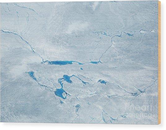 Supra Glacial Lakes Over The Ice Sheet Wood Print