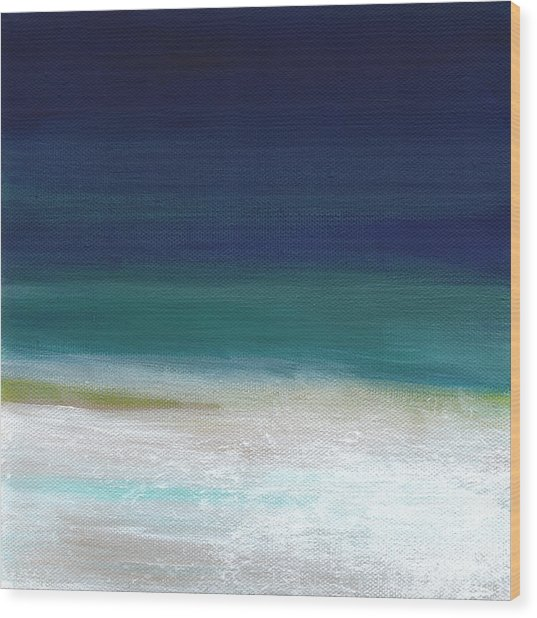 Surf And Sky- Abstract Beach Painting Wood Print