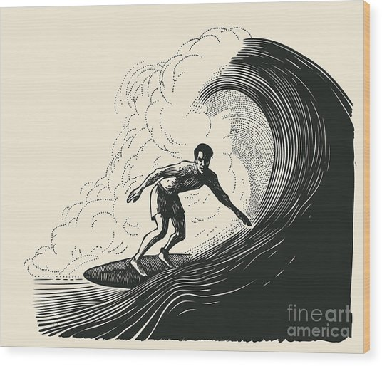 Surfer And Big Wave. Engraving Style Wood Print