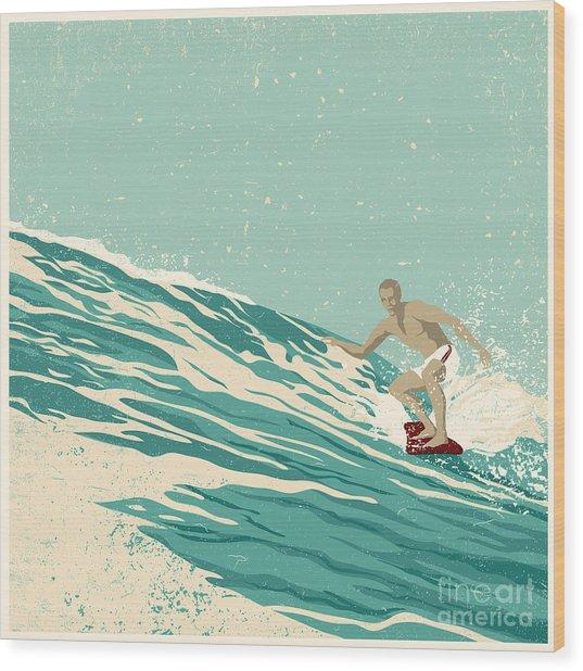 Surfer And Big Wave. Vector Wood Print