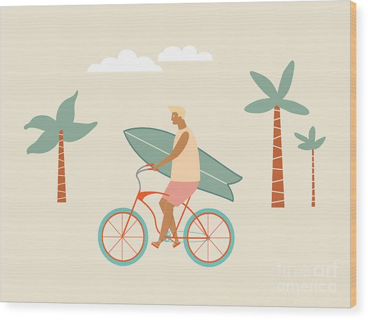 Surfer Bicycle Rider With Surfboard On Wood Print