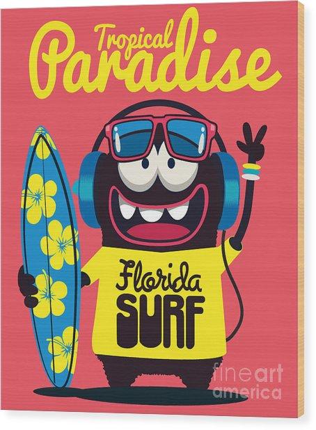 Surfer Monster Wood Print
