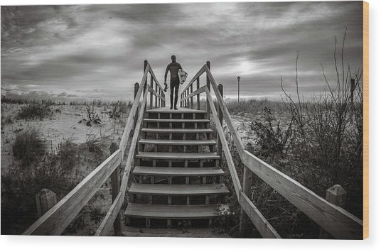 Wood Print featuring the photograph Surfer by Steve Stanger