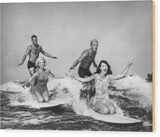 Surfers In California 1965 Wood Print