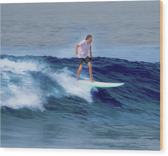 Surfing Andy Wood Print
