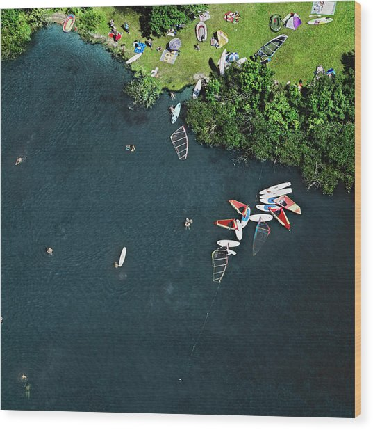 Surfing Boards On Lake Wood Print