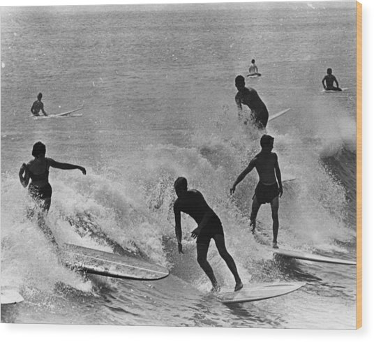 Surfing Derby Wood Print by Fox Photos