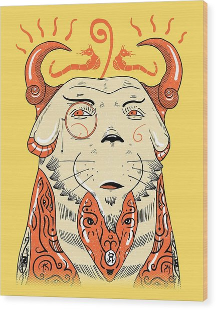 Wood Print featuring the drawing Surreal Cat by Sotuland Art