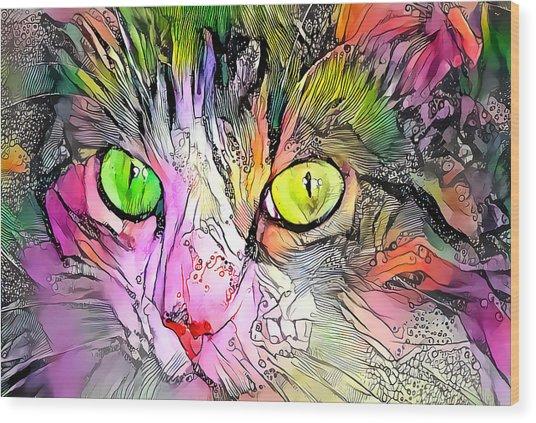 Surreal Cat Wild Eyes Wood Print