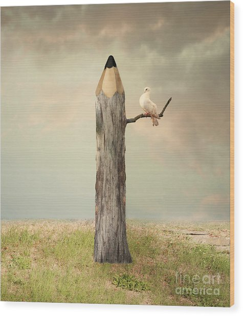 Surreal Illustration Imagine Wood Print by Valentina Photos