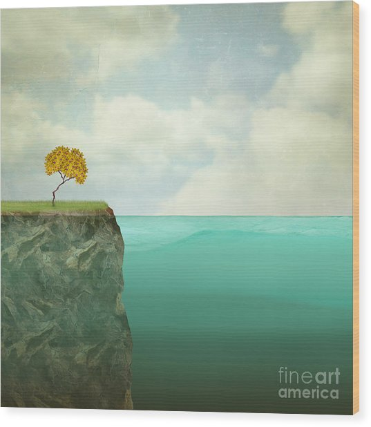 Surreal Illustration Of A Small Tree Wood Print by Valentina Photos