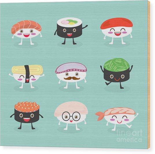 Sushi Set, Cute Sushi Set, Japanese Wood Print