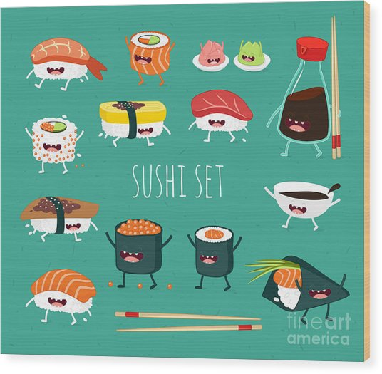 Sushi Set. Soy Sauce And Sushi Roll Wood Print