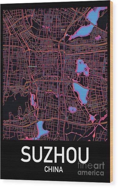 Suzhou City Map Wood Print