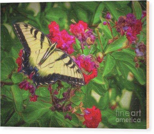 Swallowtail Among Flowers Wood Print
