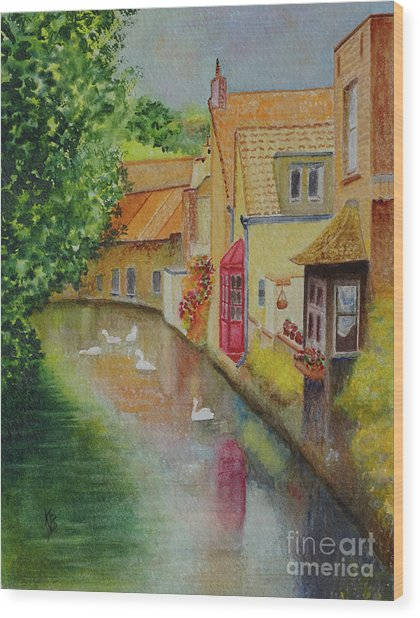 Wood Print featuring the painting Swan Canal by Karen Fleschler