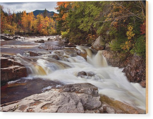 Swift River Rapids Along Kancamagus Wood Print