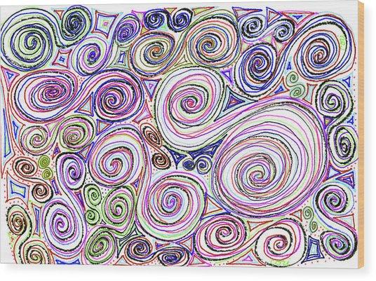 Swirls II Wood Print