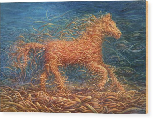 Swirly Horse 1 Wood Print