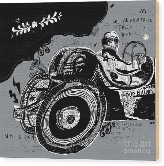 Symbolic Image Of An Old Sports Car Wood Print by Dmitriip