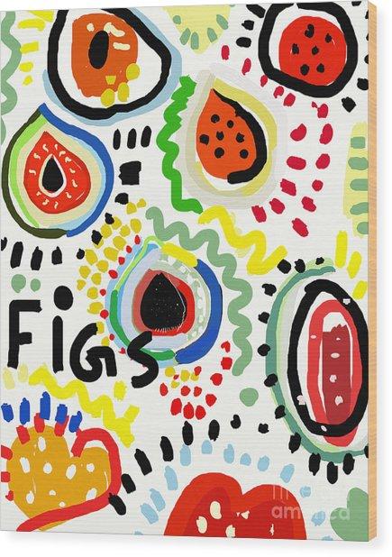 Symbolic Image Of Fig Fruits Wood Print