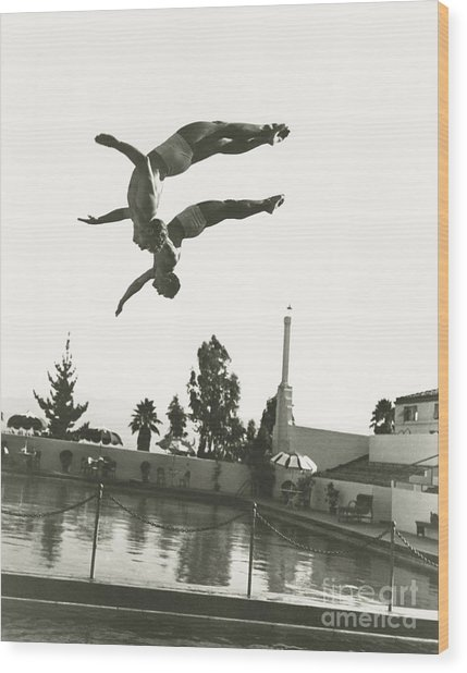 Synchronized Divers In Mid-air Wood Print