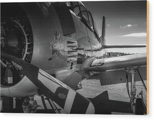 Wood Print featuring the photograph T-28b Trojan In Bw by Doug Camara