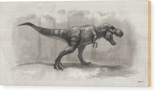 T-rex Drawing Wood Print by Steve Goad
