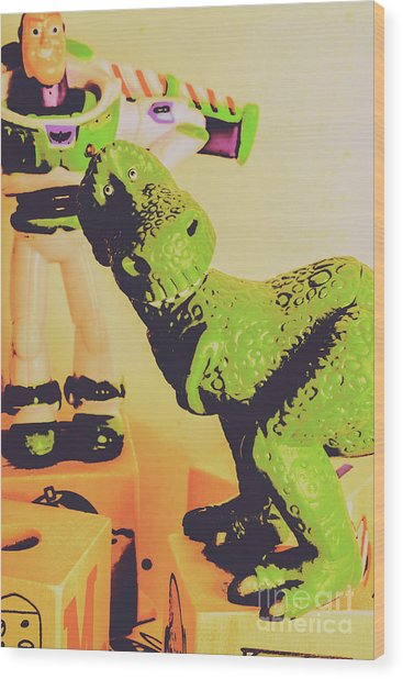 T-rex Toy Wood Print