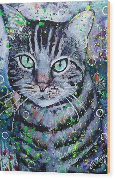 Tabby Cat Wood Print by Jennifer Charton