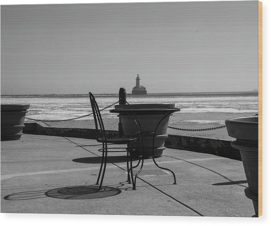 Table For One Bw Wood Print