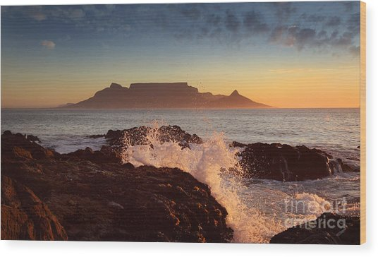 Table Mountain With Clouds, Cape Town Wood Print by Dietmar Temps