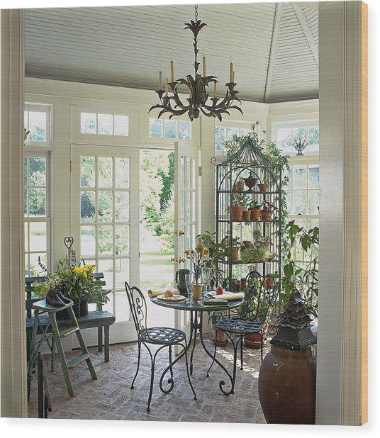 Table Set In Sunroom Wood Print
