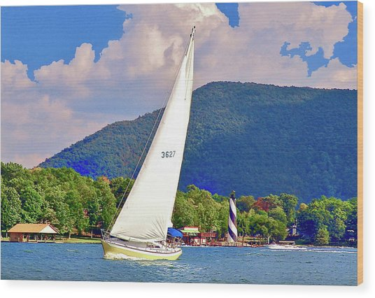 Tacking Lighthouse Sailor, Smith Mountain Lake Wood Print