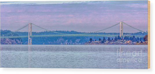 Tacoma Narrows Bridge Landscape Wood Print by Jean OKeeffe Macro Abundance Art