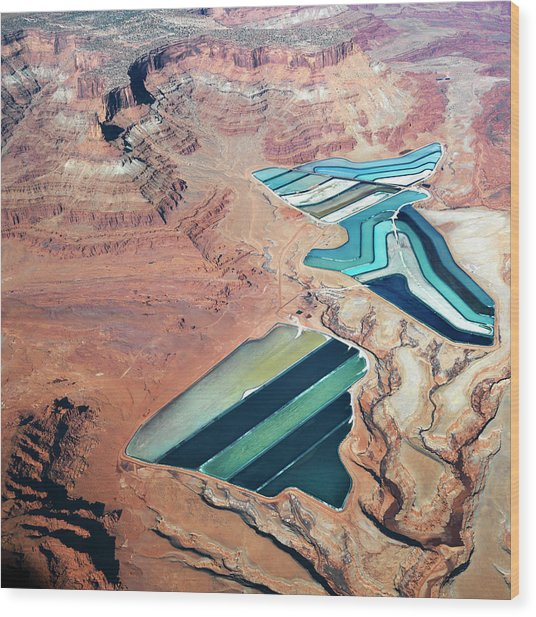 Tailings Ponds Wood Print by Fuse
