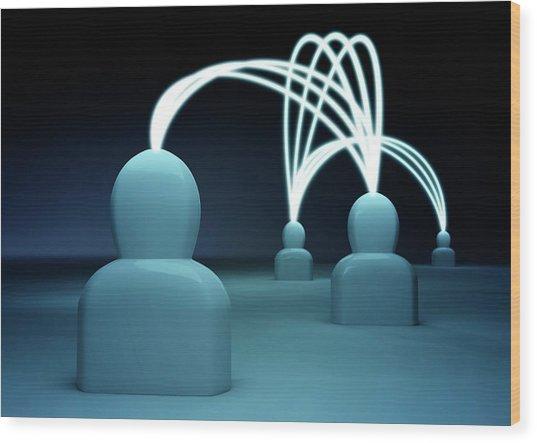 Talking Heads - Blue3 Wood Print by Mmdi
