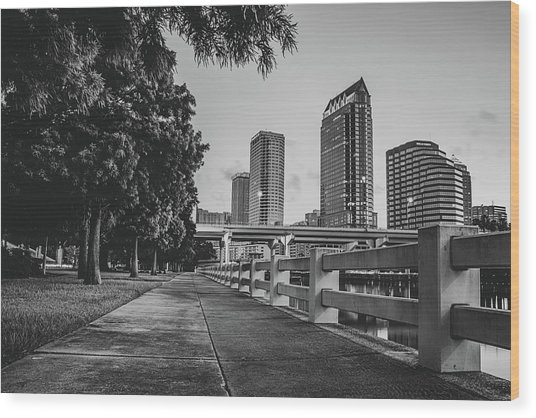 Tampa Florida Riverwalk View In Monochrome Wood Print by Gregory Ballos