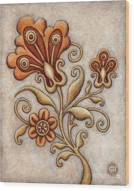 Tapestry Flower 3 Wood Print