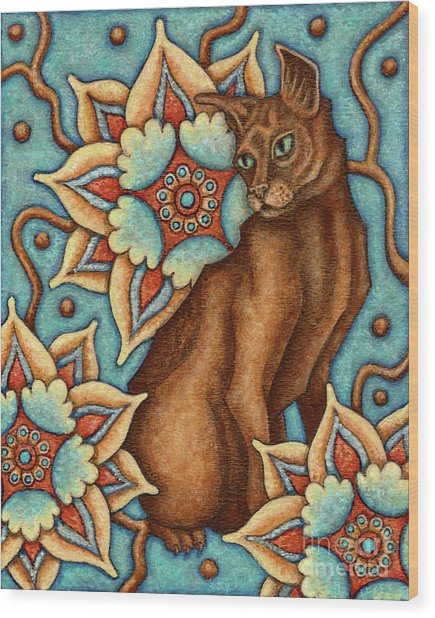 Tapestry Cat Wood Print