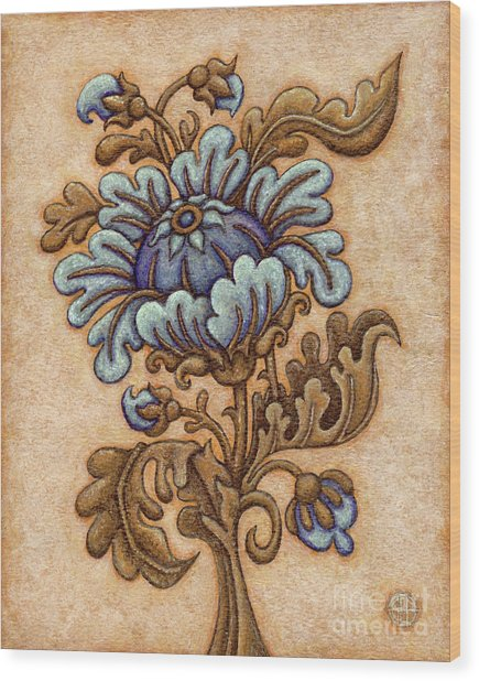 Tapestry Flower 5 Wood Print