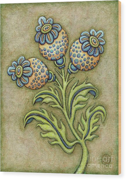 Tapestry Flower 6 Wood Print