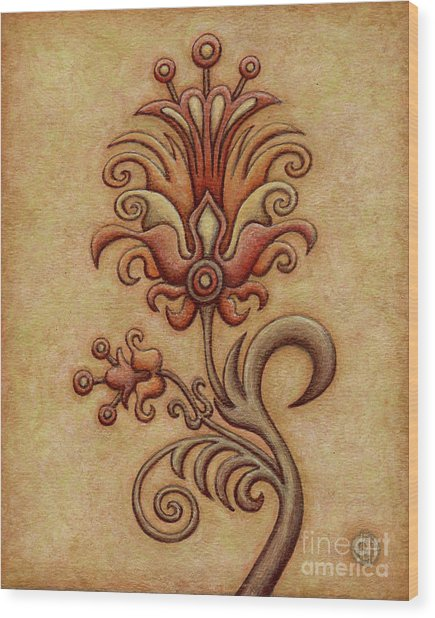 Tapestry Flower 7 Wood Print