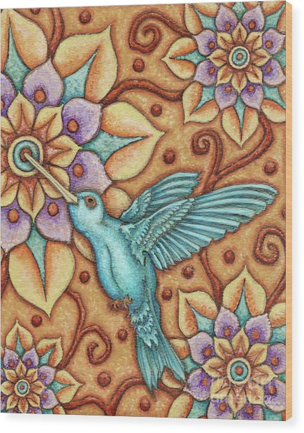 Tapestry Hummingbird Wood Print