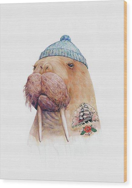 Tattooed Walrus Wood Print